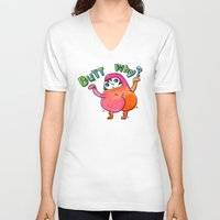 butt V-neck T-shirts featuring Butt Why? by Chika Ando