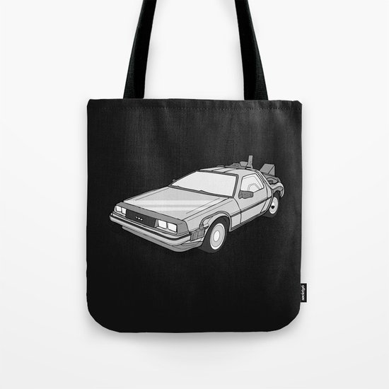 Back to the Future Delorean illustration Tote Bag