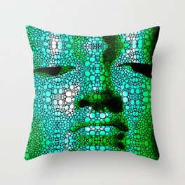 Green Buddha - Stone Rock'd Art By Sharon Cummings Throw Pillow