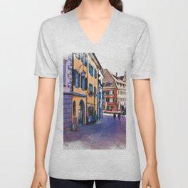 In the streets of Meersburg, Germany Unisex V-Neck
