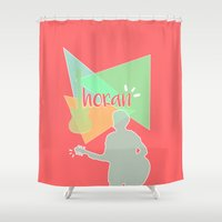 niall horan Shower Curtains featuring Geometric Niall Horan by antisthetic