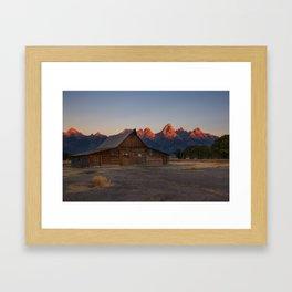 Moulton Barn - Sunrise in Grand Tetons Framed Art Print