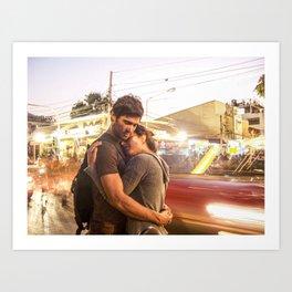 The Lovers | Timeless Night Scene Couple Embrace Romantic Hug Bright City Lights Long Exposure Art Print