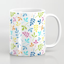 Multicolored Assorted Leaf Silhouette Pattern Coffee Mug
