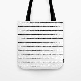 Minimal Simple White Background Black Lines Stripes Tote Bag