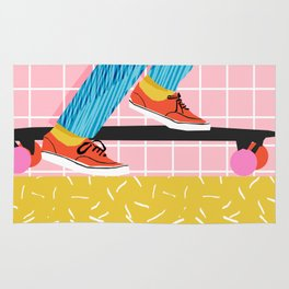 Chavvy - memphis skateboarder long boarding retro patterns 1980's trend vibes socal cali beach life Rug