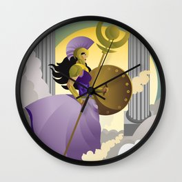 greek roman goddess athena minerva with shield and staff in the sky Wall Clock
