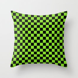 Halloween Green and Black Checkerboard Pattern SM Throw Pillow