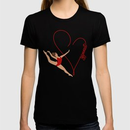 Red Heart Gymnast Text T-shirt