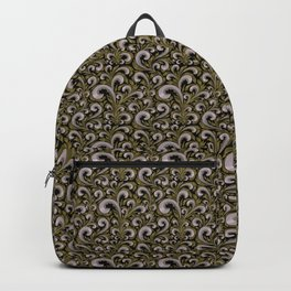 Intricate Victorian Scroll Pattern With Deep Purples and Greens Backpack