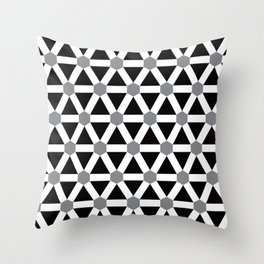 Geometric Pattern 176 (gray triangle grid) Throw Pillow