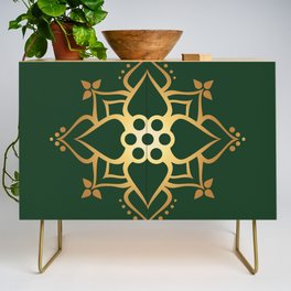 Indian Golden Lotus Harmony Mandala Pattern with Classy Green background color Credenza