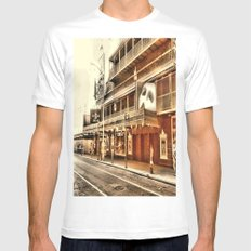 Give My Regards To Broadway MEDIUM White Mens Fitted Tee