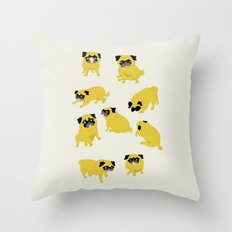 Good Vibes With Nasty The Pug Throw Pillow