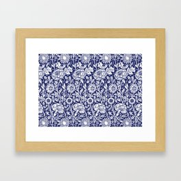 "William Morris Floral Pattern | ""Pink and Rose"" in Navy Blue and White Framed Art Print"
