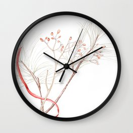 Winter Branches (white pine and rose hips) in Watercolor Wall Clock