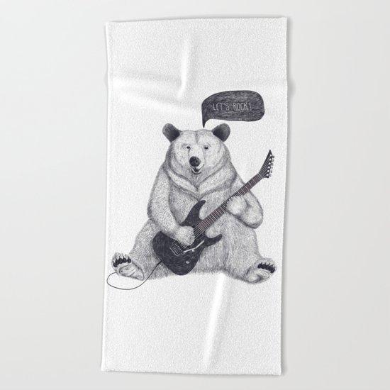 Let's rock bear Beach Towel