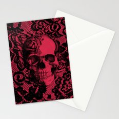 Gothic Lace Skull in red and black. Stationery Cards