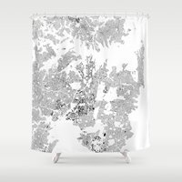 sydney Shower Curtains featuring SYDNEY by Maps Factory