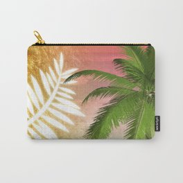 Tropical Palm Tree Palm Fronds & Gold Metallic Carry-All Pouch
