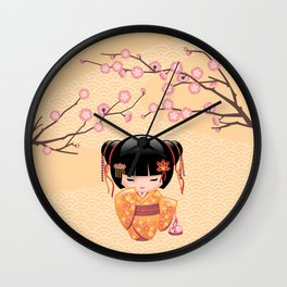 Japanese Ume Kokeshi Doll Wall Clock