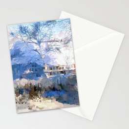The old farm in winter Stationery Cards