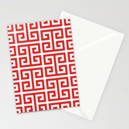 Coral Red and White Greek Key Pattern Stationery Cards