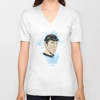 spock V-neck T-shirts featuring Spock by Josh Ln