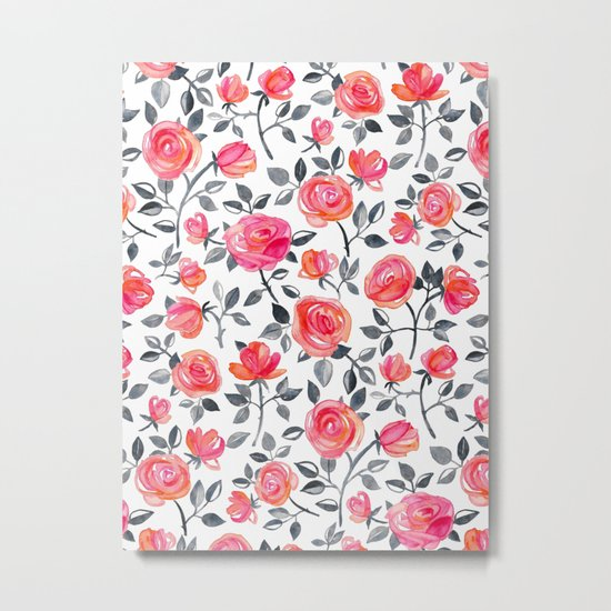 Roses on White - a watercolor floral pattern Metal Print