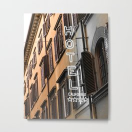 Hotel California // A Modern Artsy Style Graphic Photography of Neon Sign in Europe on Buildings Metal Print