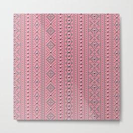 Studded Southwest Stripe on Coral Pink 1@50 Metal Print