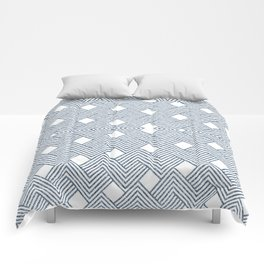 Blue Denim and White Abstract Comforters