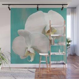 WHITE ORCHIDS - AQUA Wall Mural