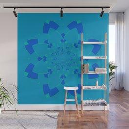 Blue Flower Kaleidoscope Wall Mural