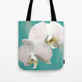 WHITE ORCHIDS - AQUA Tote Bag