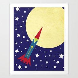 Rocket To The Moon Art Print
