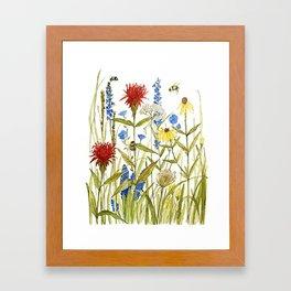 Garden Flower Bees Contemporary Illustration Painting Framed Art Print