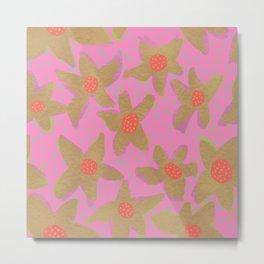 Retro Flowers on Pink Metal Print