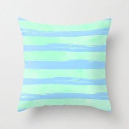 Trendy Stripes Blue Raspberry + Mint Meringue Throw Pillow