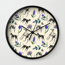 GREYHOUND DOGS & PRESSED FLOWERS Wall Clock