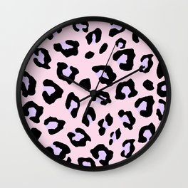 Leopard Print - Lavender Blush Wall Clock