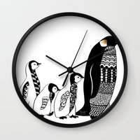 penguins Wall Clocks featuring Penguins by Sophie H.