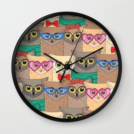Pattern with cute owls with trendy accessories - glasses, bow-tie, flowers, scarf Wall Clock