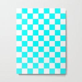Checkered - White and Aqua Cyan Metal Print