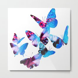 Electric Blue Butterflies Metal Print