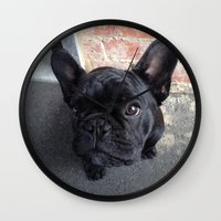 frenchie Wall Clocks featuring Frenchie by Gabrielle Burns