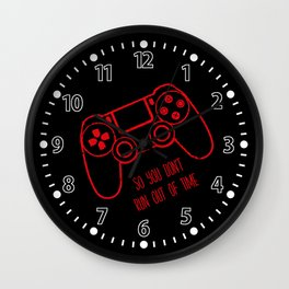Video Games Red on Black Wall Clock