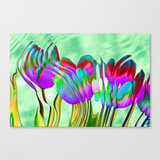 Tulips behind wavy glass Canvas Print