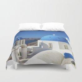 Santorini, Oia Village, Blue and White Church Duvet Cover