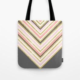 Stylish boho gray pink coral gold faux glitter chevron Tote Bag